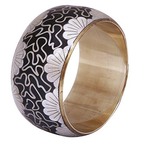 Bracciale argento nero–donne ampia braccialetto bracciale in metallo argento con motivi su una base nera e finitura in oro sul lato interno–gioielli fatti a mano dall' India
