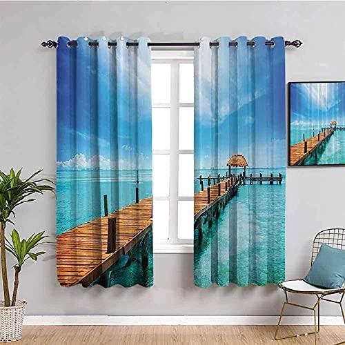 LWXBJX Opacas Cortinas Dormitorio - Puente mar Paisaje Azul - Impresión 3D Aislantes de Frío y Calor 90% Opacas Cortinas - 150 x 166 cm - Salon Cocina Habitacion Niño Moderna Decorativa