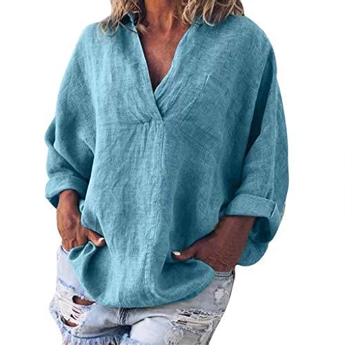 CAOQAO Damen Sexy Einfarbig Mode Plus Größe Solide Lässig Leinen V-Ausschnitt Bluse T-Shirt Atmungsaktives Laufshirt(XXXXL,Blau)