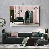 Carteles de pintura de lienzo de colores nórdicos de Morandi e impresión de diseño de interiores moderno decoración de pared imágenes artísticas para sala de estar dormitorio 50x70 CM (sin marco)