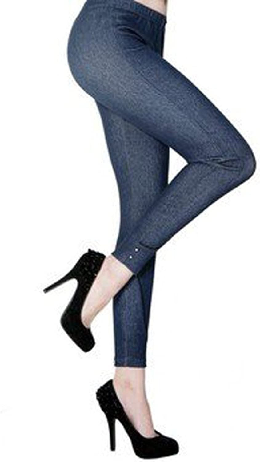 Peach Couture Side Ankle Rhinestone Studded Jeggings Navy bluee (Black)