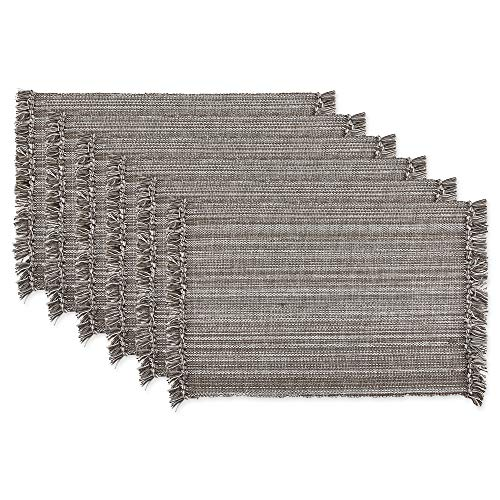 DII Variegated Tabletop Collection, Placemat Set, Gray 6 Count