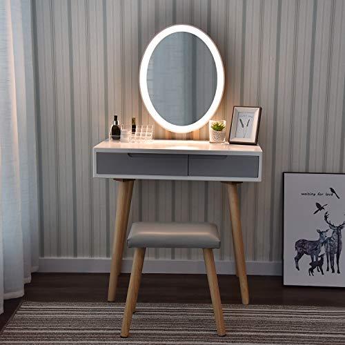 YU YUSING Tocador con LED iluminación, 2 cajones, Organizador extraíble, Mesa cosmética con Taburete tapizado, para Dormitorio, vestidor, Moderno, Espejo Ovalado