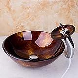 Inicio del grifo Artista Diseño de baño lavabo del servicio del fregadero del recipiente de vidrio templado Lavabo cuenco pintura de la mano las llaves de latón Acabado