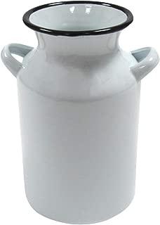 Treasure Gurus White Enamel Milk Can Rustic Utensil Holder Country Farmhouse Kitchen Decor