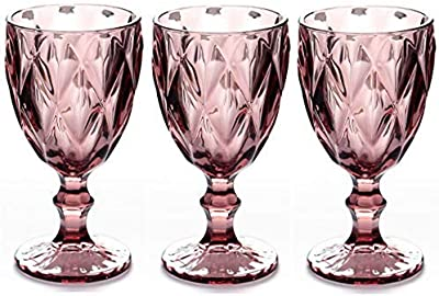 Red Wine Glasses Set of 3 10 Ounce Wedding Party Colored Glass Goblets Embossed Design Glassware (Red)