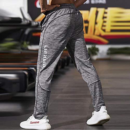 SHYSBV Fitness Heren joggingbroek dunne grijze sportkleding joggerbroek mannen vrijetijdsbroek turnhallen bodybuildingbroek S. grijs