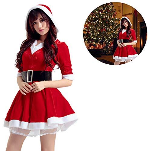 Destinely Disfraz Miss Santa Navidad Vestido Capucha Cosplay Traje de Terciopelo para Mujer Chica Sra. Mamá Noel Tutú Rojo con Cinturón Ropa de Fiesta Manga Corta