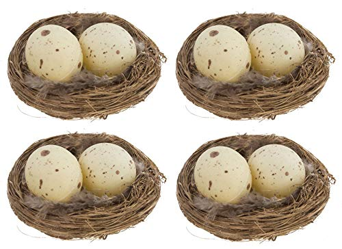 Realistic 3 Inch Natural Twig Bird Nest With Eggs and Feathers, Pack of 4 - Great for Wedding Favors, Party Favors, Florals or Baby Showers