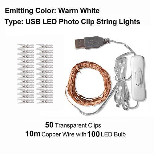 Lichtsnoer, lichtring, lichtstrip 2 M, 5 m, 10 m, fotoclip, usb-led-koordlamp, elflamp, buitenverlichting, batterijen, slinger, kerstversiering, bruiloft, Kerstmis