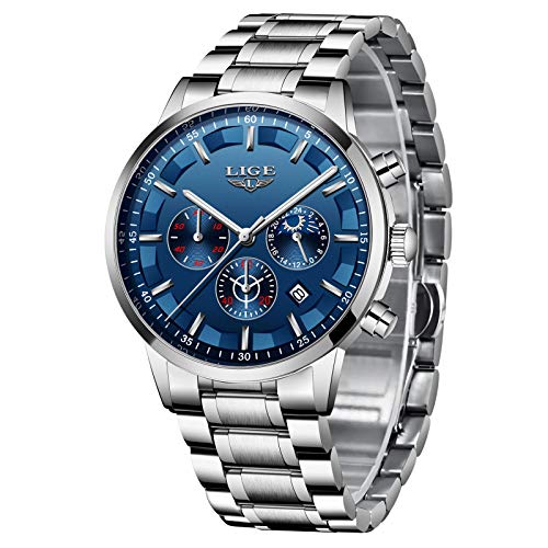 Herren Uhren Quartz 30 M Wasserdichtes, Lässige Chronograph Uhren, Business Uhren Kalender, Männer Militär Schwarz Edelstahl Armbanduhr (F)…