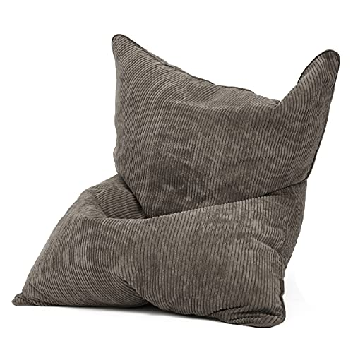 Green Bean © Square XXL Cordoba Sitzsack - 370 Liter EPS-Perlen Kügelchen Füllung - 600D Oxford, Cord - kuschelig, weich, robust - waschbar, mit Innensack - Beanbag, Lounge Chair, Liege - Grau