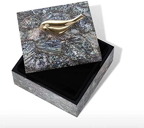 HZYDD Caja de joyería con pájaro de Cobre Baroteo de Madera Anillo Anillo Caja de Almacenamiento Regalos de cumpleaños para Mujeres Velvet Negro