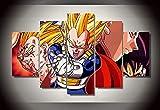 45Tdfc 5 Panel Wall Art Superhéroe Dragon Anime Película Amarillo Saiyan Goku Pintando la impresión de la Pintura en Lienzo Pictures para decoración de casa Pieza de Regalo de Firstwallart