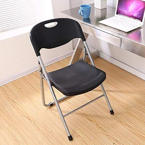 XYSQWZ Office Chair Folding Home Stool, Steel Frame Reception Chair Plastic Black Portable Seat