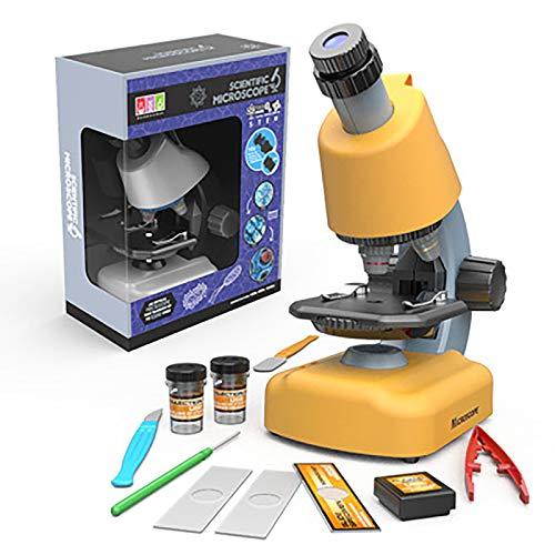 Wissenschaft Mikroskop 1200X HD, Professionelles Biologisches Mikroskop Mit Led Lichtern, Vorschul Lernspielzeug-geburtstag Gsgeschenk Für Kinder Studenten Anfänger (Gelb)