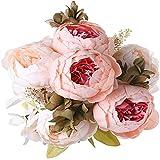 Yyhmkb 1 Paquete De Ramo De Peonía Artificial,Flores DePeoníasGrandes De Seda con Capullos para Boda, Oficina, Oficina, Hotel, Decoración, Arreglos Florales De Bricolaje, Rosa Claro