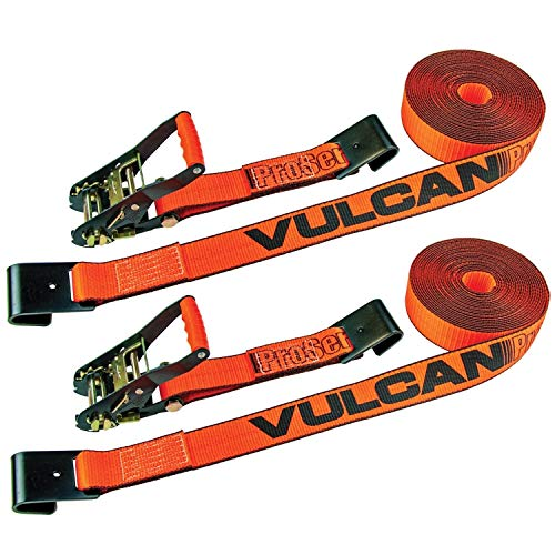 VULCAN Ratchet Strap with Flat Hooks - 2 Inch x 30 Foot, 2 Pack - PROSeries - 3,300 Pound Safe Working Load