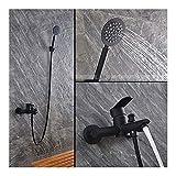 THQC El Color Negro baño de Pintura Ducha Fija de Acero Inoxidable 304 baño de Material de Grifo con Ducha de Mano bajo de...