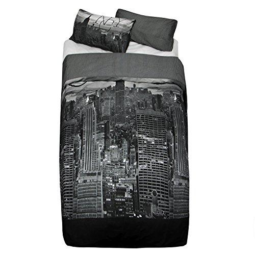 Just Contempo Set di Copripiumino Matrimoniale con grattacieli di New York, Grey Skyline, King
