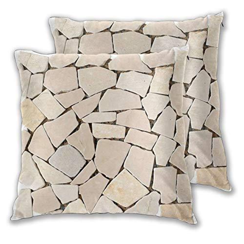 WINCAN Juego de 2 Decorativo Funda de Cojín,Azulejo Mosaico de Piedra de Guijarro Plano Beige,Funda de Almohada Cuadrado para Sofá Cama