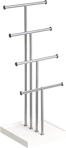 Amazon Basics Présentoir à bijoux à quatre étages - Blanc/Nickel