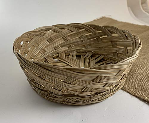 CalCastle Hand Made Philippine Natural Coco Midrib Round Gift Baskets, Bread Roll Baskets, Food Serving Baskets, Florist Baskets, Organizor (9' - 3PCS)