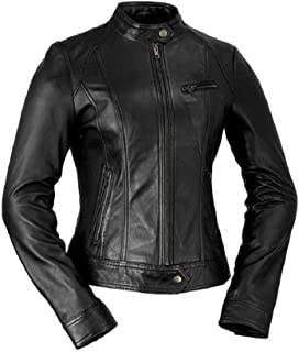Whet Blu Women's Classic Scooter Style Leather Jacket