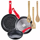 Pack 3 sartenes Energy Ø20/24/28 cm + Set de 3 utensilios de cocina en bambu
