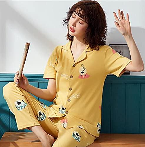 Pijamas de manga larga Pijamas de verano 100% algodón Conjuntos de pijamas para parejas Cuello vuelto Suelto Casual Tallas grandes M-3xl Pijamas para amantes Tops cortos + Pantalones largos M Mujeres