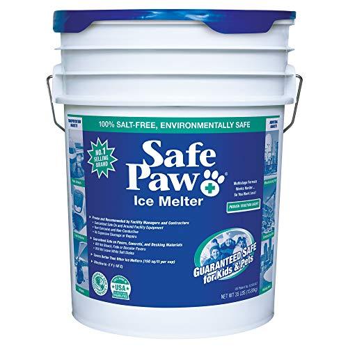 Safe Paw, Child Plant Dog Paw & Pet Safe Ice Melt -35lb, 100% Salt Chloride Free -Non-Toxic, Vet Approved, No Concrete Damage, Fast Acting Formula, Last 3X Longer