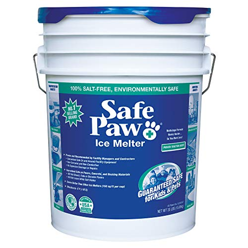 Safe Paw, Child Plant Dog Paw & Pet Safe Ice Melt -35lb, 100% Salt/Chloride Free -Non-Toxic, Vet Approved, No Concrete Damage, Fast Acting Formula, Last 3X Longer