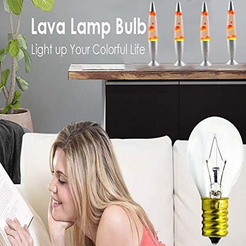 SerBion 40 Watt Lava Replacement Bulbs, Original Lava Lamp Bulb for 14.5-Inch/20-Ounce Lava Lamp, 4 Pack E17 Base, High Temp Resistance, Dimmable - Warm White -120 Volt Light Bulbs for Scentsy Burner