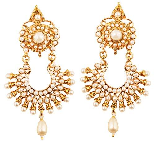 Touchstone Indische Bollywood reiche besetzte Schmucksachen spornten breite lange magische Blick jhumki Hochzeit Ohrringe an, die mit Imitatperlen besetzt wurden für Damen Goldton