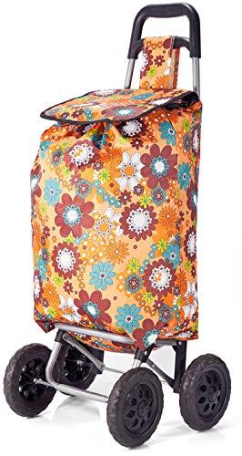 Benzi Floral Print Shopping Trolley Four Wheel Lightweight Foldable Grocery Bag Orange