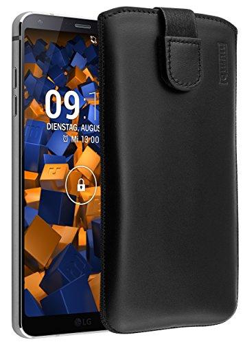 mumbi Echt Ledertasche kompatibel mit LG G6 Hülle Leder Tasche Case Wallet, schwarz