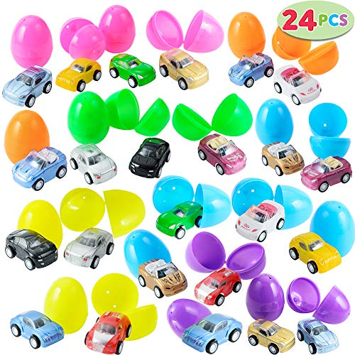 """Premium 24 Pcs Filled Easter Eggs with Toy Cars 225"""" Bright Colorful Easter Eggs Prefilled with Pull Back Vehicles"""