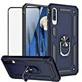 TJS Phone Case for Samsung Galaxy A50 2019, with [Full Coverage Tempered Glass Screen Protector][Impact Resistant][Defender][Metal Ring][Magnetic Support] Heavy Duty Armor Protector Cover (Blue)