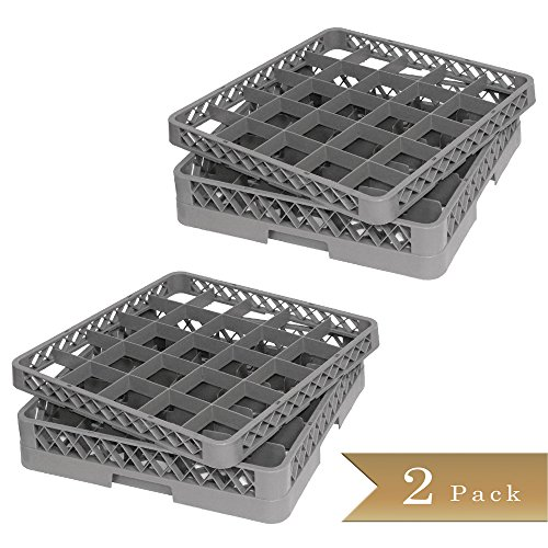 """Set of 2 - TrueCraftware - Commercial 25 Compartment Gray Stemware and Glass Rack Base and Extender - Double Deck - Dishwasher Rack - 20"""" x 20"""" x 5 3/4"""" (4 Piece set)"""