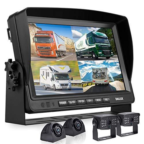 Sistema de cámara de seguridad con monitor de 9 pulgadas, grabadora DVR para RV Semi Box Truck Trailer Motorhome, Quad Split Screen 4 canales 1080P HD resistente al agua trasera y visión lateral