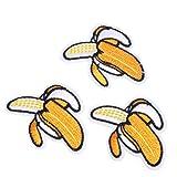 N/A. Juego de 3 parches de bordado con diseño de plátano de frutas creativas, para manualidades, para coser o planchar en ropa, camiseta, pantalones vaqueros y decoración