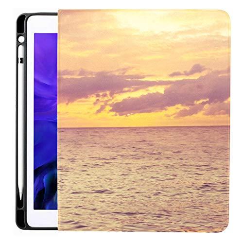 Funda para iPad Pro 12.9 2020 y 2018 con portalápices Two Dolphins Beautiful Sunset Smart Cover Funda para iPad, admite Carga de lápiz de Segunda generación, Funda para iPad Pro 12.9 2020 con Reposo