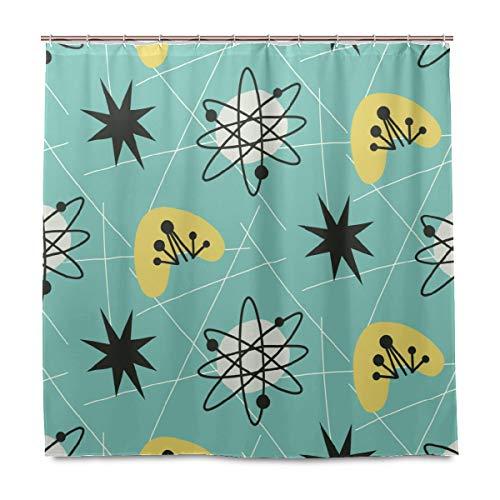 Serenasyoung Duschvorhang fürs Badezimmer, wasserdicht, schimmelresistent, antibakteriell, im Stil der 1950er Jahre, Vintage-Stil, mit Haken, Badezimmer-Zubehör, mehrfarbig, 60x72 inch