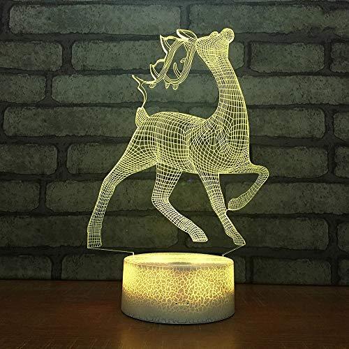 Lindo animal reno base agrietada lámpara de mesa pequeña creativa LED3D luz visual acrílico decoración creativa regalo luz de noche multicolor luz de neón