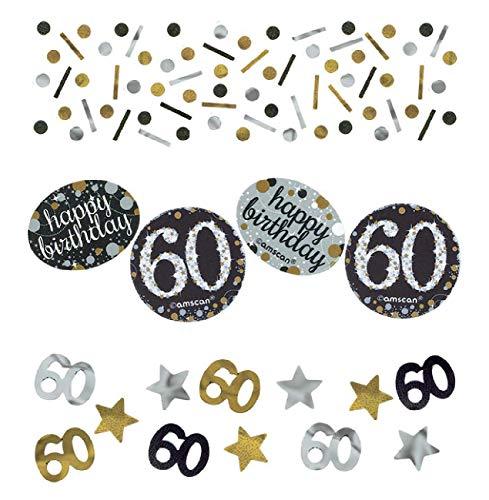 amscan 360188 Konfetti 60 Silver & Gold