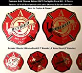 High Performance Vinyl Graphics LLC IAFF Retired Firefighter Decals Gold Chrome 2pc Kit 3.7' and 2' Laminated 0284