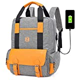GQ-BAG Lightweight Laptop Backpack Casual and Durable Rucksack College Daypack with USB Charging Interface for Men and Women,Gray