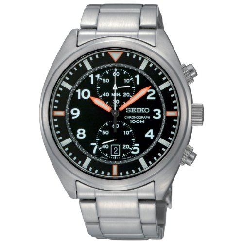 Seiko Men's SNN235 Chronograph Black Dial...