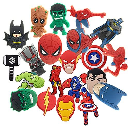21 Pcs Superhero PVC Shoe Charms Miotlsy-Adornos Para Zapatos Multicolor Pulsera Charms Favores De Fiesta,los mejores regalos para adultos, adolescentes, niños y niñas