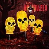 Halloween Decorations Outdoor 3D Skeleton Skull 7.8FT Halloween Lights String with 4 LED Skull Stake Lights, Waterproof & Battery Operated Halloween Pathway Makers For Indoor Outdoor Halloween Decor